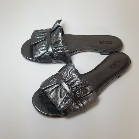 9d1b2ef907ca Michael Kors Bella Ruffle Metallic Leather Slide